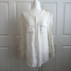 Free People Linen & Lace White Button Down Shirt M